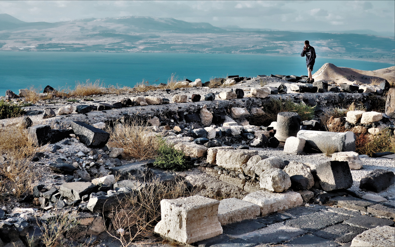 Capernaum and the hills where Jesus preached the Sermon on the Mount are on the distant shoreline in this view from ancient Hippos. — J. Nelson Kraybill