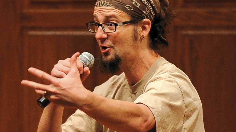 Shane Claiborne speaks at Hesston Mennonite Church in Kansas in 2016. — Larry Bartel/Hesston College