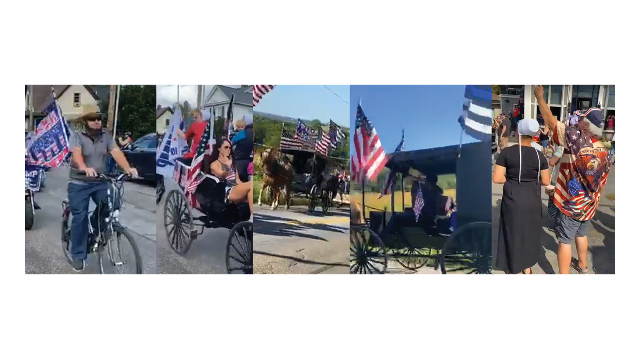 Amish and others take part or observe parades supporting President Donald Trump Sept. 19 and 26 in Fredericksburg, Ohio. — Bikers for Trump Facebook Live videos