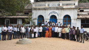 Members of the ad hoc committee for the General Council of MBCI stand in front of Mahabubnagar Mission Bungalow in 2018 after refurbishing it and claiming it as the group's administration center. — Paul Gandham