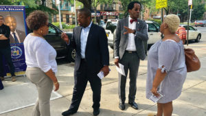 New York Assemblyman and Infinity Mennonite Church Pastor Al Taylor, right, campaigns Aug. 1, 2019, in Harlem with New York State Sen. Brian Benjamin. — Wendy Lorenzetti Olivo