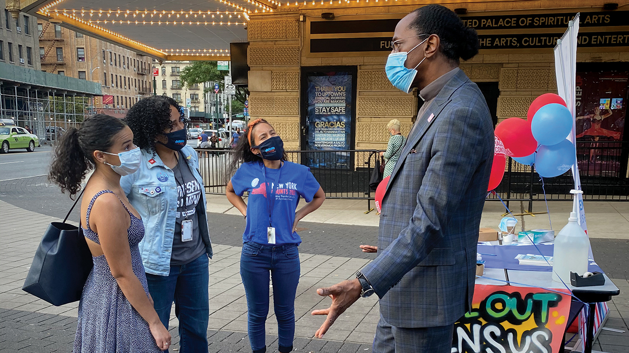 Al Taylor, New York Assemblyman and pastor of Infinity Mennonite Church, promotes U.S. Census participation on Sept. 1 in the Washington Heights neighborhood of New York City. — Wendy Lorenzetti Olivo