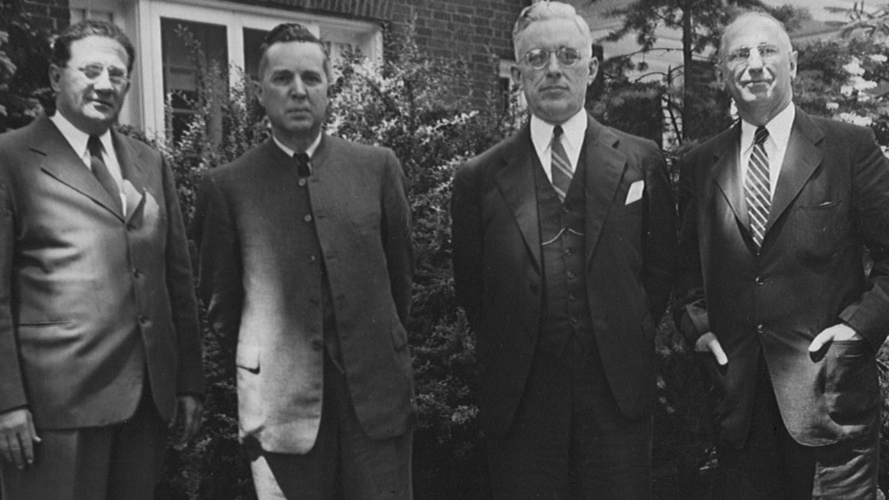 The designers of CPS: M.R. Ziegler, Church of the Brethren; Orie O. Miller, Mennonite churches; Paul Furnas, Society of Friends (Quakers); and Arthur Swift, Fellowship of Reconciliation. — Mennonite Central Committee U.S. Archives, Akron, Pa.