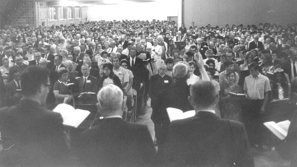 Mary Oyer leads singing at the Mennonite Church General Assembly in Turner, Ore., Aug. 15-19, 1969. — Mennonite Church USA Archives