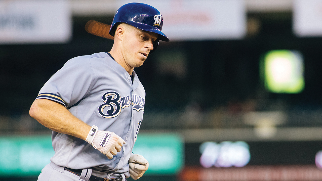 Erik Kratz rounds the bases after hitting a home run for the Milwaukee Brewers on Aug. 31, 2018, in Washington. Photo: Andrew Strack/EMU