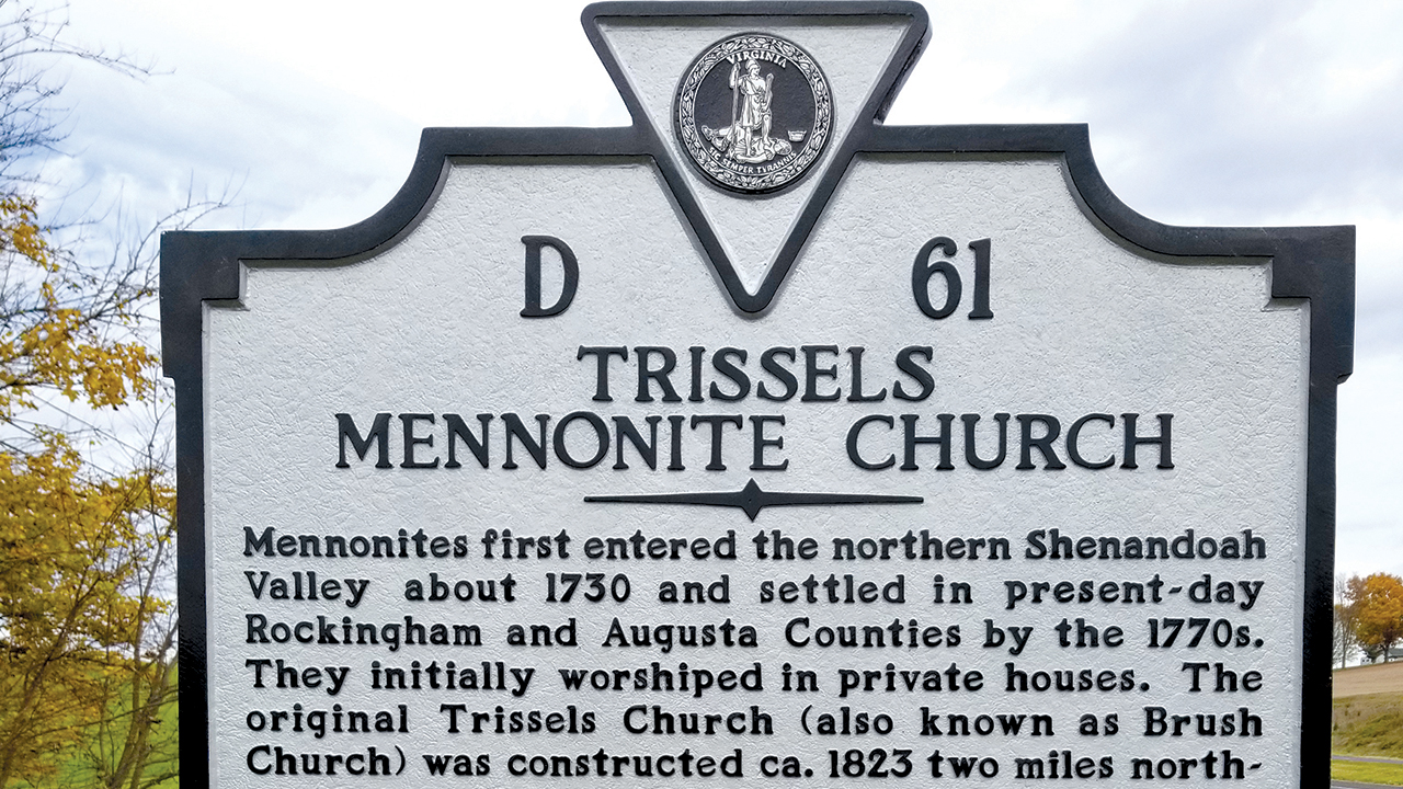 The Virginia Department of Historic Resources dedicated a historical marker Nov. 15 at Trissels Mennonite Church. — Virginia Board of Historic Resources