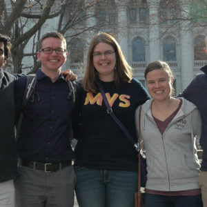 The 2016-17 Madison MVS unit and local leader, from left to right: Mikhail Fernandes, Joe Friesen, Sarah Geiser, Tabea Fink, Neil Richer. — David Fast/MMN