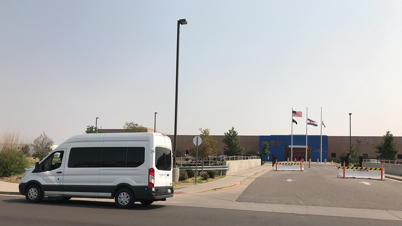 Casa de Paz's new Casa on Wheels mobile hospitality unit waits for people to be released from the U.S. Immigration and Customs Enforcement contract detention facility in Aurora, Colo. — Casa de Paz