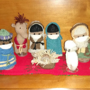 The pandemic nativity set, knitted by Barbara Nelson Gingerich. — Janeen Bertsche Johnson