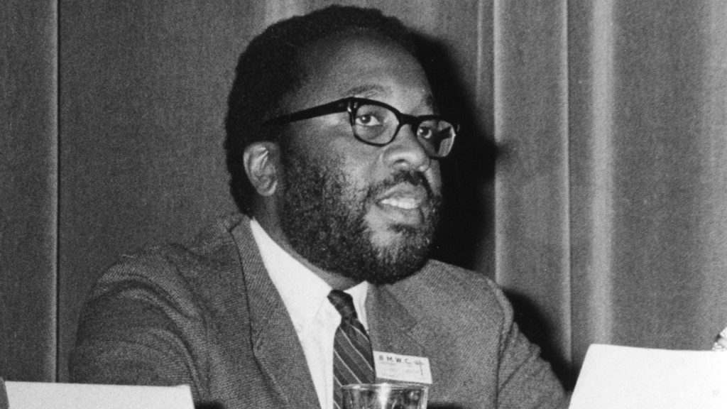 Vincent Harding addresses the Mennonite World Conference assembly in Amsterdam in July 1967. — Mennonite Church USA Archives