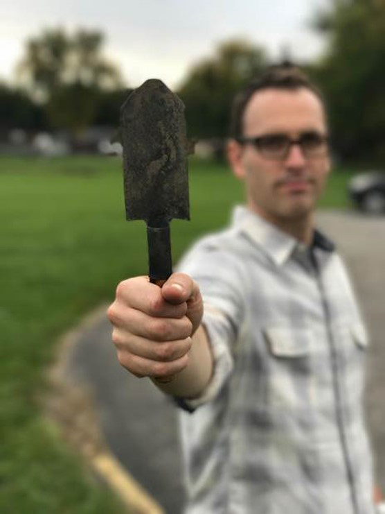 Pastor Joel Shenk holds a tool made from a gun. Shenk and his congregation, Toledo Mennonite Church in Ohio, have been involved with RAWtools since 2016. — Sam Melden