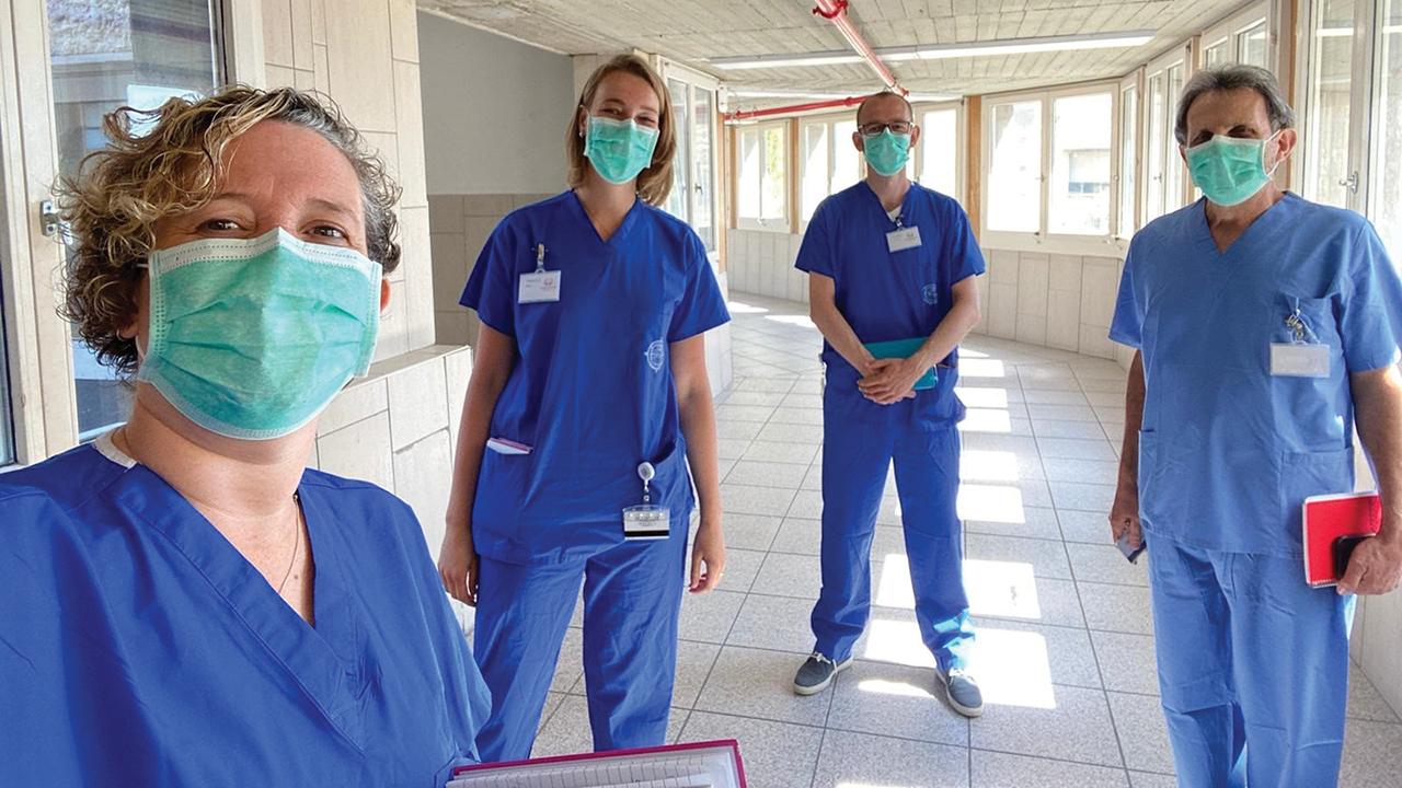 Nazareth Hospital's Covid-19 spiritual care team are Christine Farah, Rebecca Gueze, Lourens Geuze and Frank Kantor. — Nazareth Project