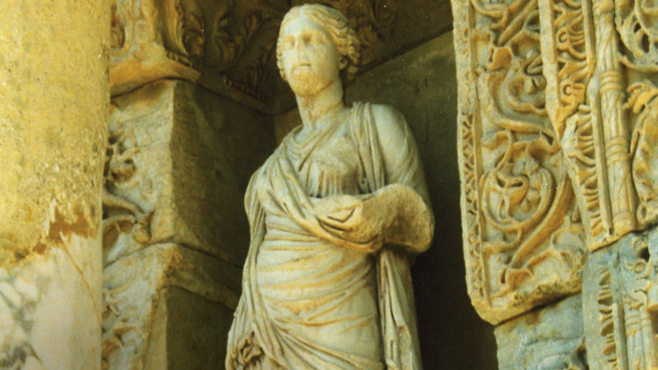 Personification of Wisdom at the Library of Celsus in Ephesus (second century). — Wikimedia Commons