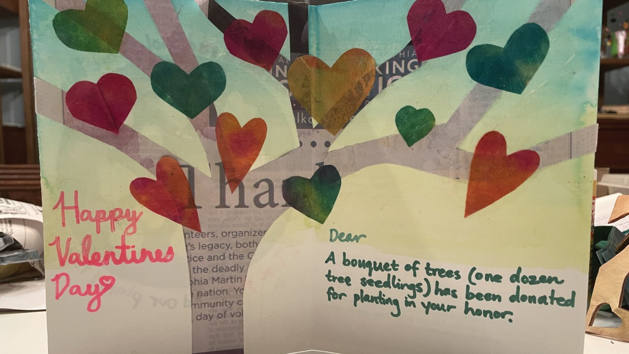 Valentine's Day cards are created by Ambler Mennonite Church youth using recycled materials. Each heart represents one seedling planted in the recipient's honor. — Gretchen Merryman-Lotze/Ambler Mennonite Church