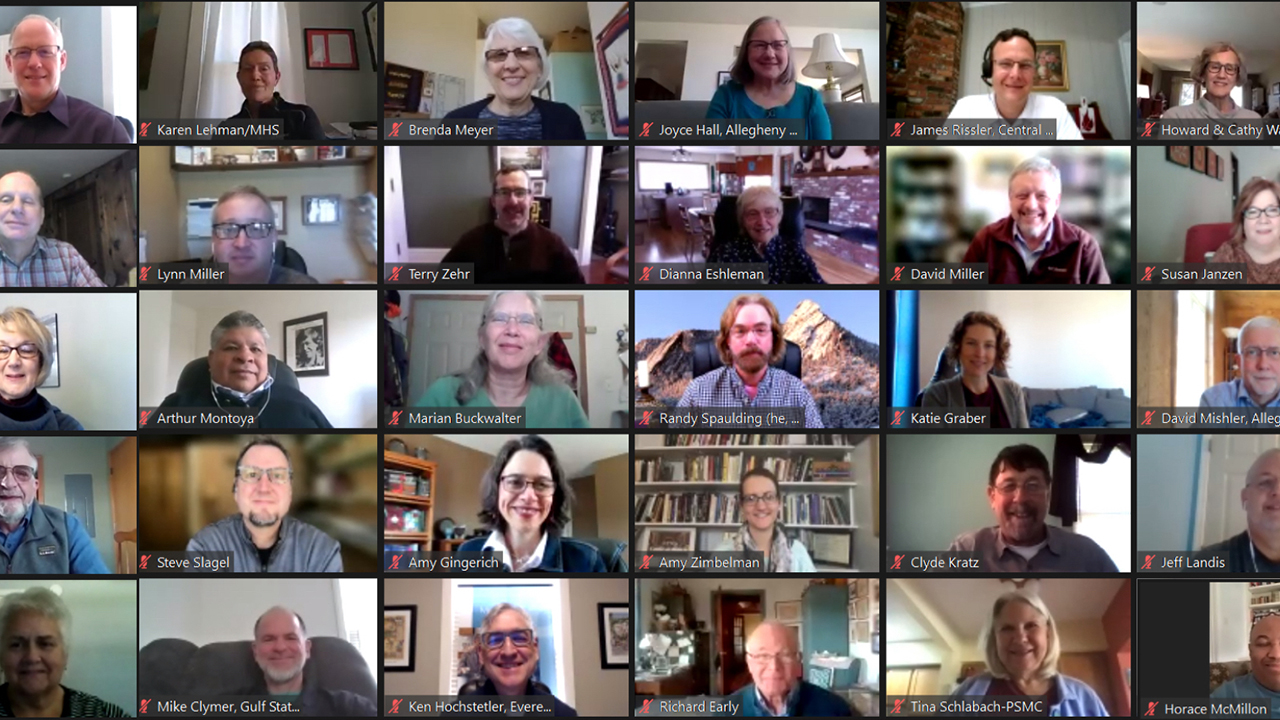 Constituency Leaders Council members and guests take part in an online meeting March 12-13. — Mennonite Church USA