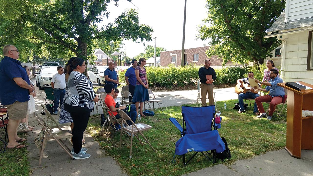 Iglesia Menonita Casa Betania (Bethany House Mennonite Church) in Newton, Kan., celebrated coming back together again in an outdoor service June 8, 2020. — Linda Shelly