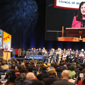 Jessica LaGrone, a member of the Commission on a Way Forward, presents the Traditional Plan during the special session of the United Methodist Church General Conference in St. Louis on Feb. 24, 2019. — Kit Doyle/RNS