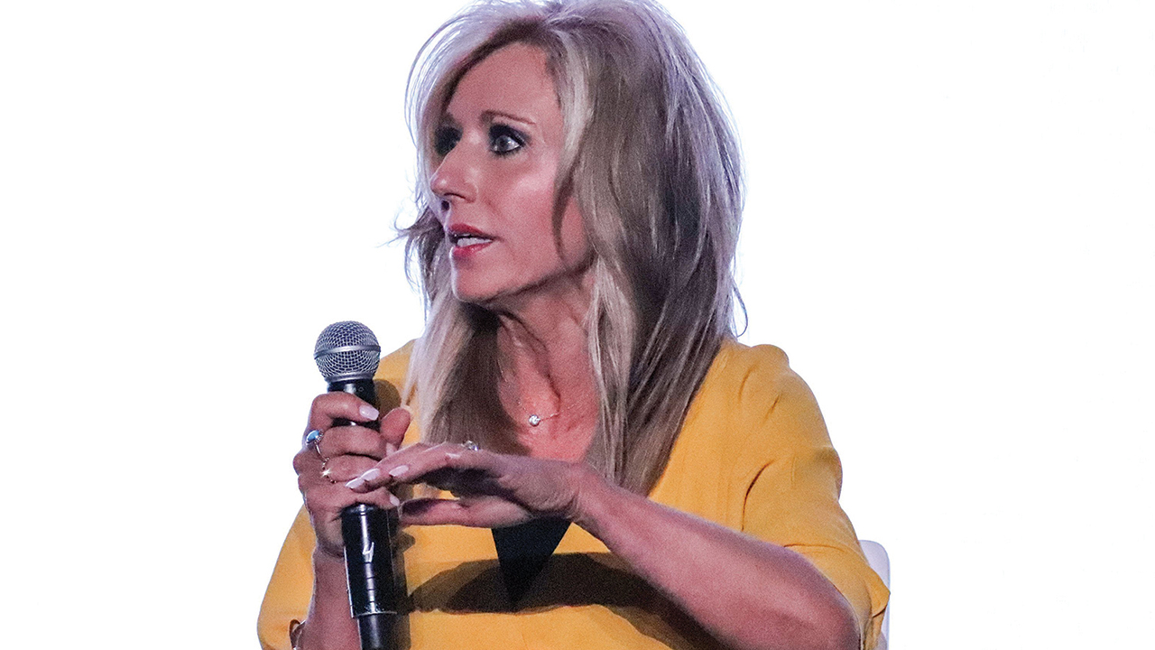 Beth Moore speaks during a panel on sexual abuse in the Southern Baptist Convention in Birmingham, Ala., on June 10, 2019. — Adelle M. Banks/RNS