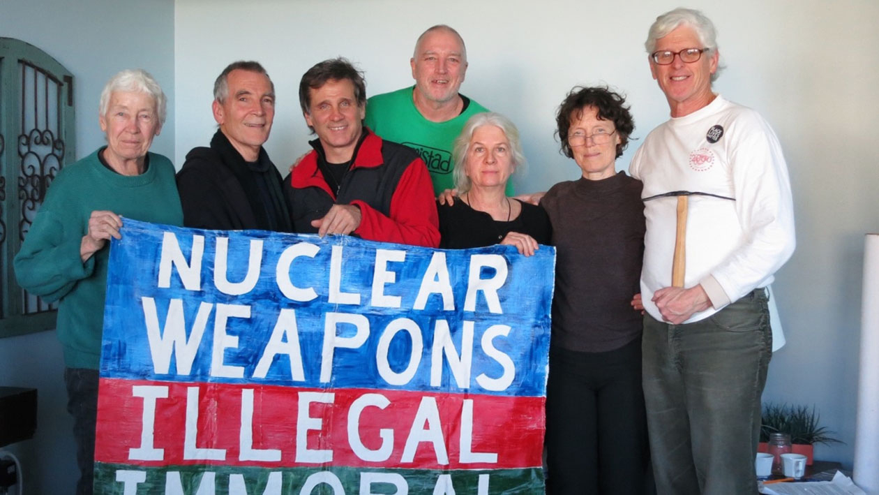 The Kings Bay Plowshares 7, from left: Elizabeth McAlister, Stephen Kelly, Carmen Trotta, Mark Colville, Martha Hennessy, Clare Grady and Patrick O'Neill. Photo: Kings Bay Plowshares 7