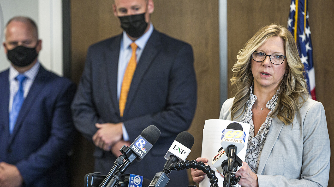 Lancaster County District Attorney Heather Adams briefs the media on the Linda Stoltzfoos case during a news conference at the Lancaster County courthouse April 22 in Lancaster, Pa. (Dan Gleiter/The Patriot-News via AP)