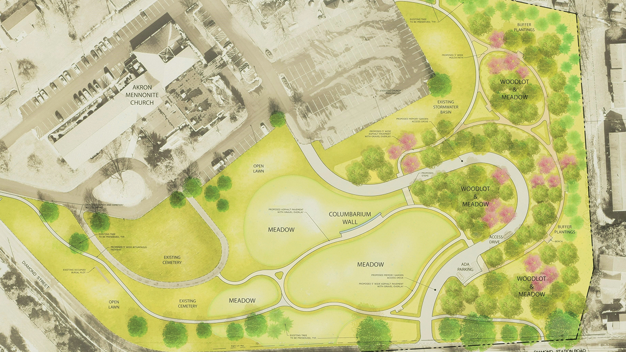 Akron Mennonite Church is hoping to transform its outdoor property into a four-acre memory garden and nature preserve, incorporating a columbarium and space for green burials. — Akron Mennonite Church