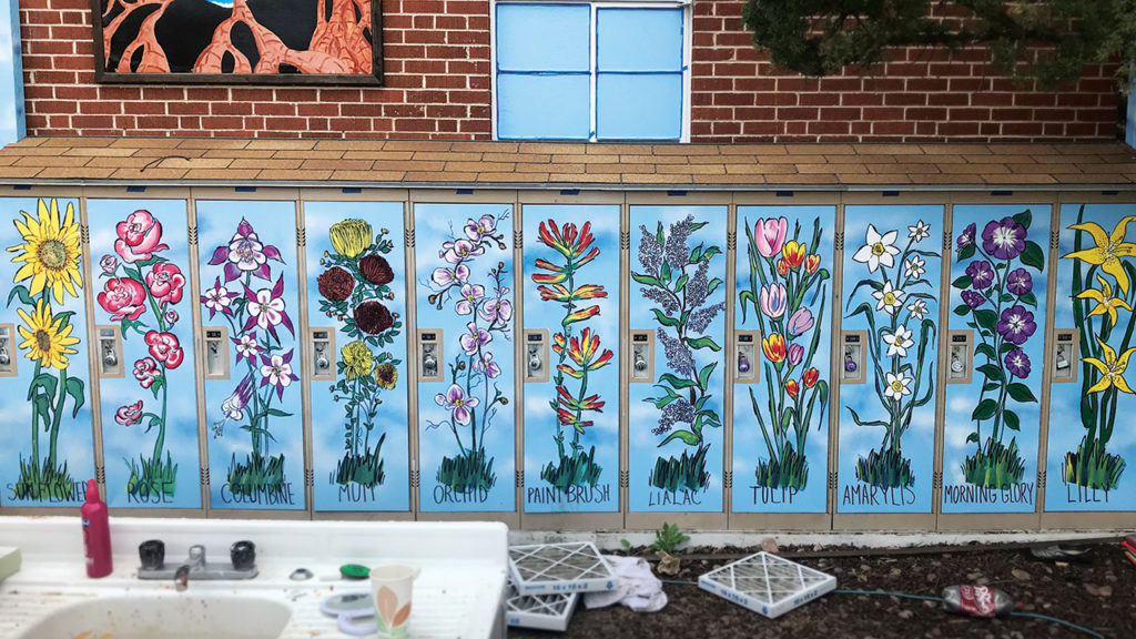 Fort Collins Mennonite Fellowship installed 20 lockers in back of the church and contracted with a formerly unhoused friend to paint them with images of flowers. — Steve Ramer
