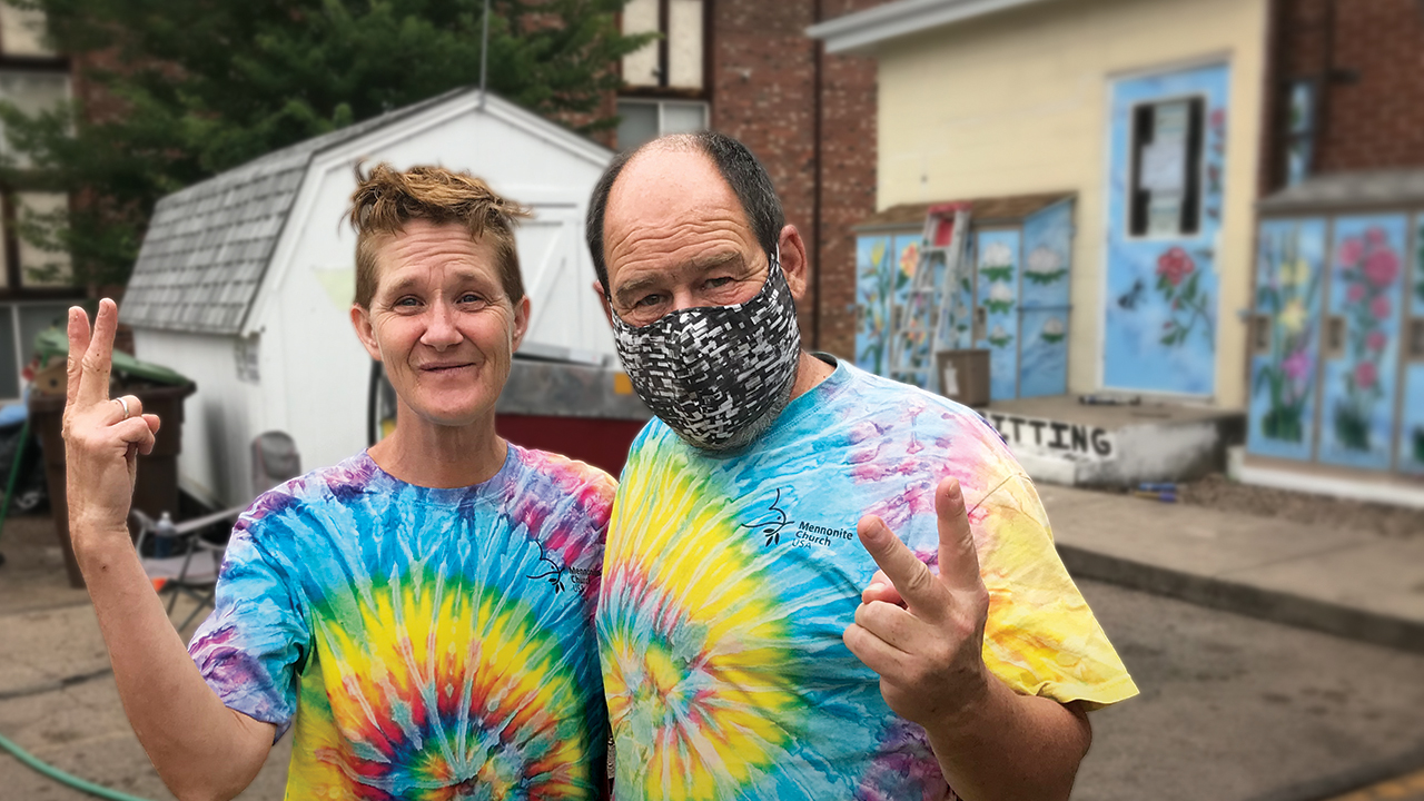 Starla Hersch and Pastor Steve Ramer express the spirit of friendship with the homeless at Fort Collins Mennonite Fellowship in Colorado. — Steve Ramer