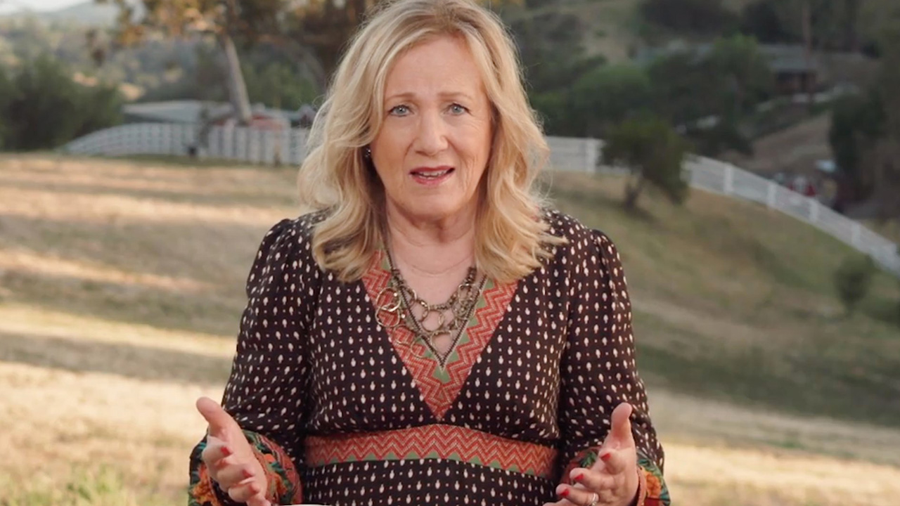 Kay Warren, wife of Saddleback Church pastor Rick Warren, delivers the message for Saddleback's Mother Day services May 9. — Video screengrab