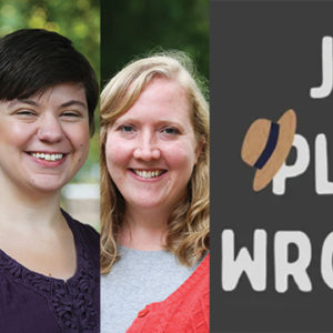 """Erin Milanese, Tillie Yoder and Abby Nafziger host the podcast """"Just Plain Wrong,"""" which begins its second season in July. — Goshen College"""