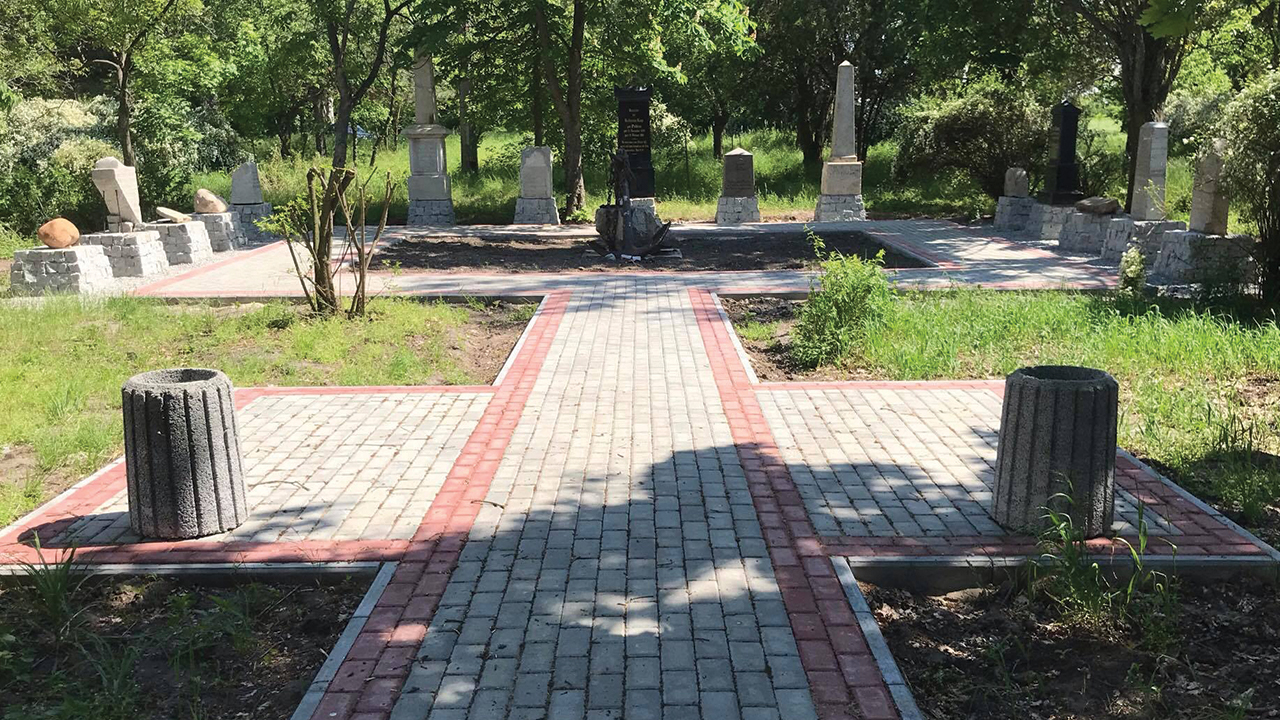 Gravestones from the Chortitza Mennonite Church cemetery in Ukraine were used by the Soviet government as building materials. Many have been rediscovered and are part of a new memorial dedicated June 24. — Max Shtatsky/Khortitsa national Nature Reserve