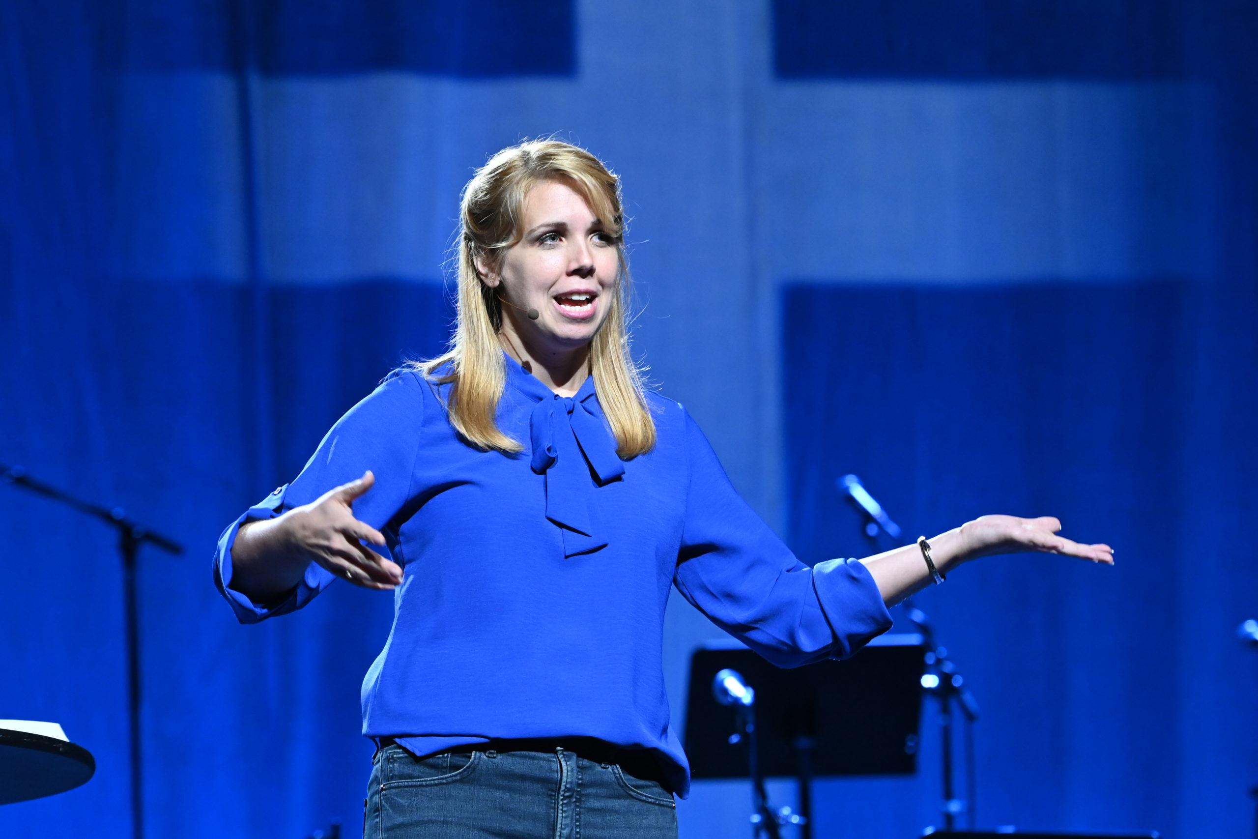 Meghan Larissa Good preaches during MennoCon21. — Mennonite Church USA