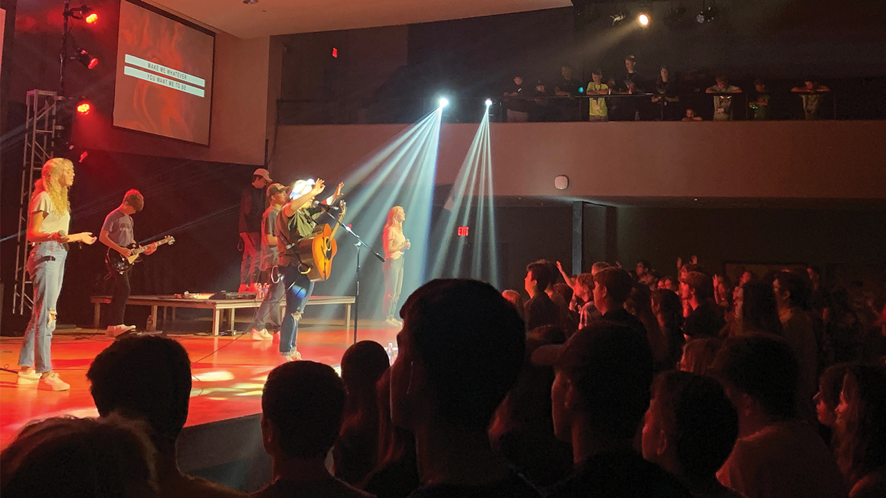 Sing Love, a professional worship team based in Indianapolis, leads worship at Evana Network's biennial national convention at Taylor University. Photo: Evana Network