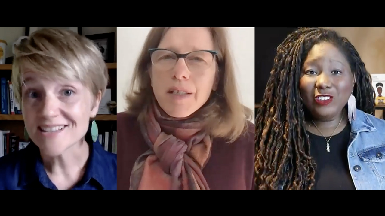 Marathana Prothro, Betty Pries and Osheta Moore are some of people who presented adult and youth online seminars during the 2021 Mennonite Church USA convention. — Mennonite Church USA