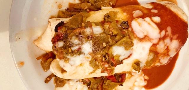 Christmas Style Burrito in Santa Fe; photo by Leann Augsburger.