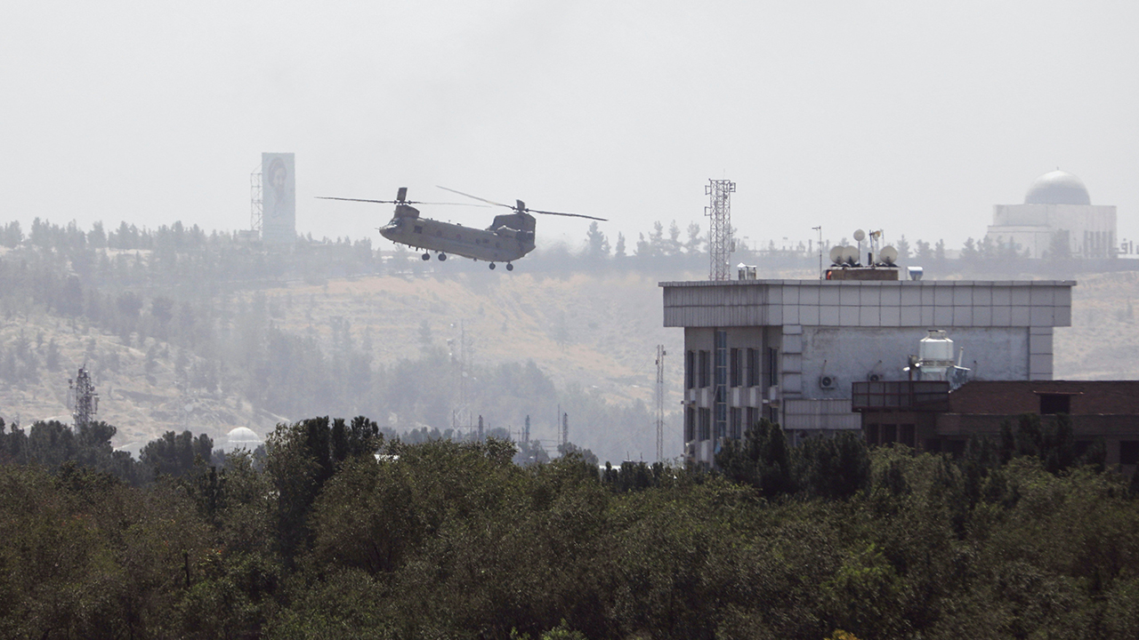 U.S. personnel were evacuated from the U.S. Embassy in Kabul, the Afghan capital, as Taliban insurgents broke through the city's defensive line on Aug. 15. — Rahmat Gul/AP
