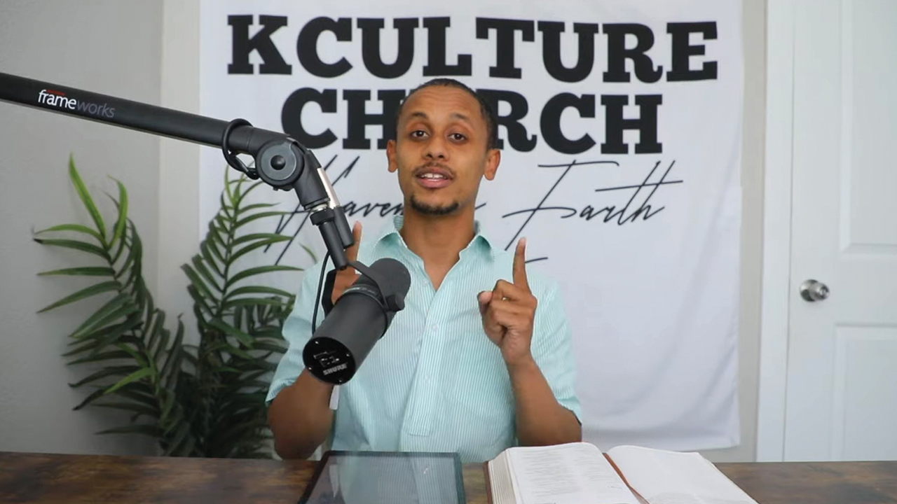 Pastor Moni Worku preaches during a KCulture Church worship service on YouTube. — KCulture Church