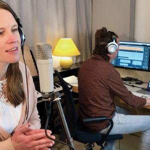 Karin Franz records a new Anabaptist worship song with her husband, Dennis Thielmann, in their studio. — Dennis Thielmann/Bienenberg Seminary