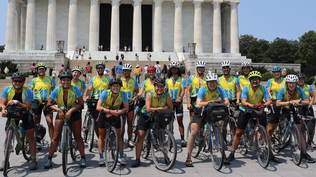 The CSCS climate riders gather for a photo upon arriving in Washington, D.C., on July 28. — Laura Pauls-Thomas/MCC