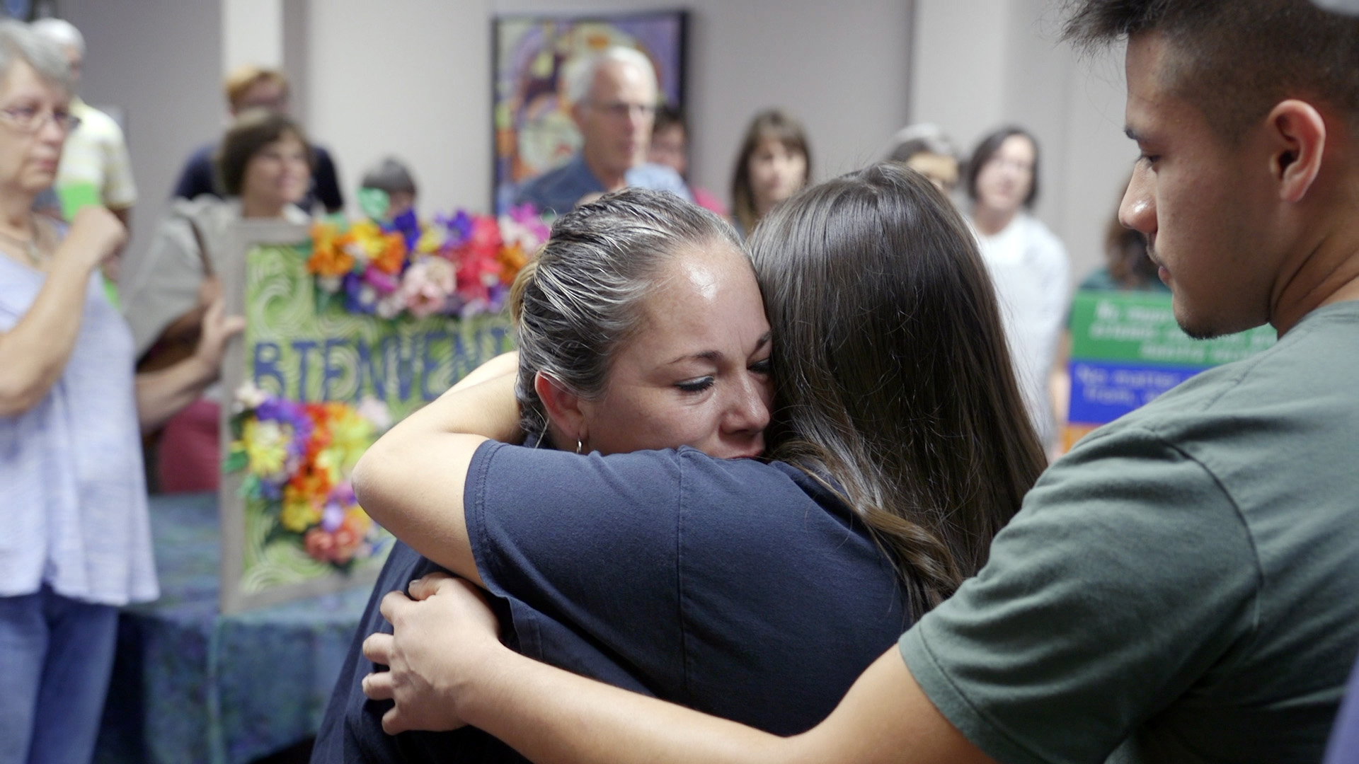 Edith Espinal arrives at Columbus Mennonite Church in Columbus, Ohio, to take sanctuary on Oct. 2, 2017. — Matthew Leahy and Elisa Stone Leahy