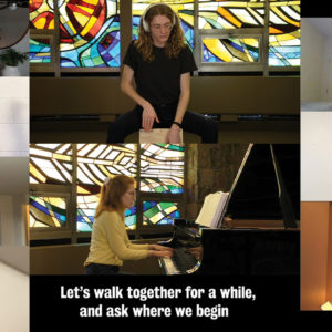 Since singing together in person wasn't safe, Grebel offered several online ensembles. Sarah Driediger, bottom right, was able to participate in Chapel Choir, even though she lived five hours away. — Conrad Grebel University College