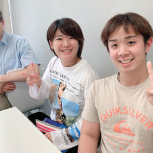 Students Den Morita, middle, and Shoei Imaizumi meet in Tokyo for intensive English coursework with Hesston College professor André Swartley in June 2019. — André Swartley/Hesston College
